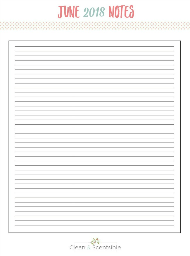 Free printable notes worksheet to keep things organized.