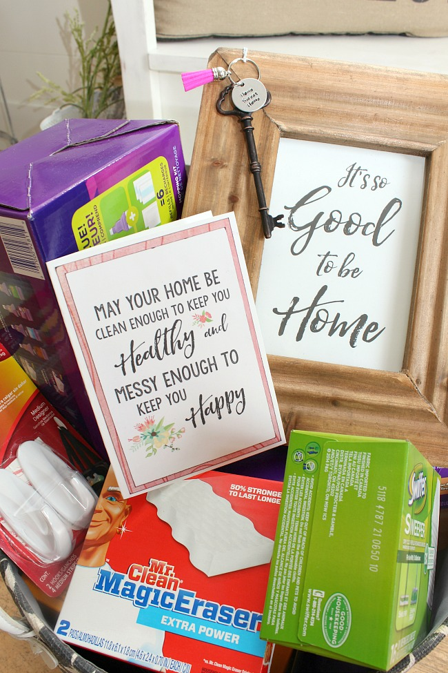 Package up all of your favorite cleaning supplies and a few fun goodies for a practical & Housewarming Gift Ideas and Free Home Printables - Clean and Scentsible
