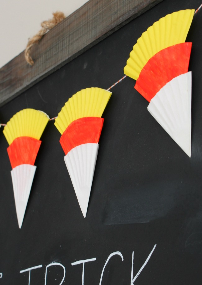 Candy corn Halloween bunting using cupcake liners.