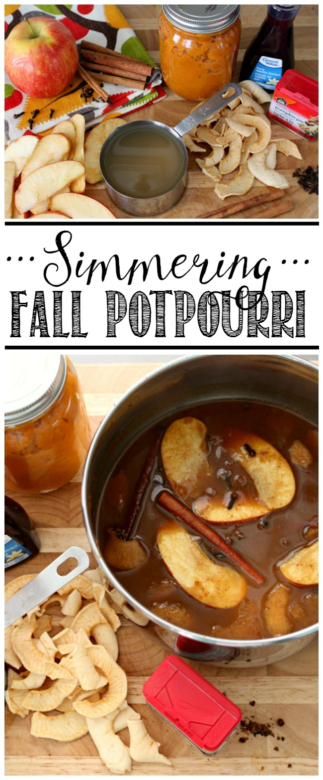 Pot of simmer fall potpourri with all of the delicious flavors of fall.
