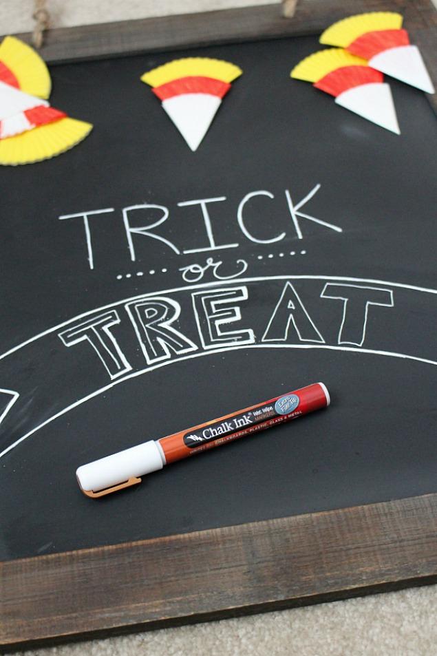 Halloween chalkboard and candy corn bunting.