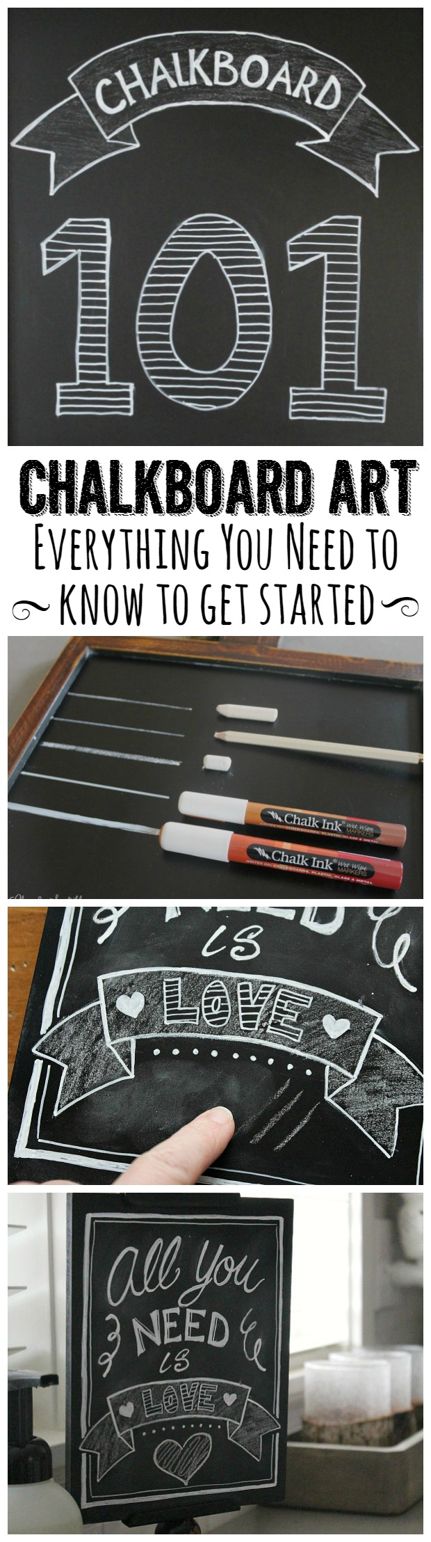 Find all of the basics to get started on your own chalkboard art.  It's fun and easy to do!