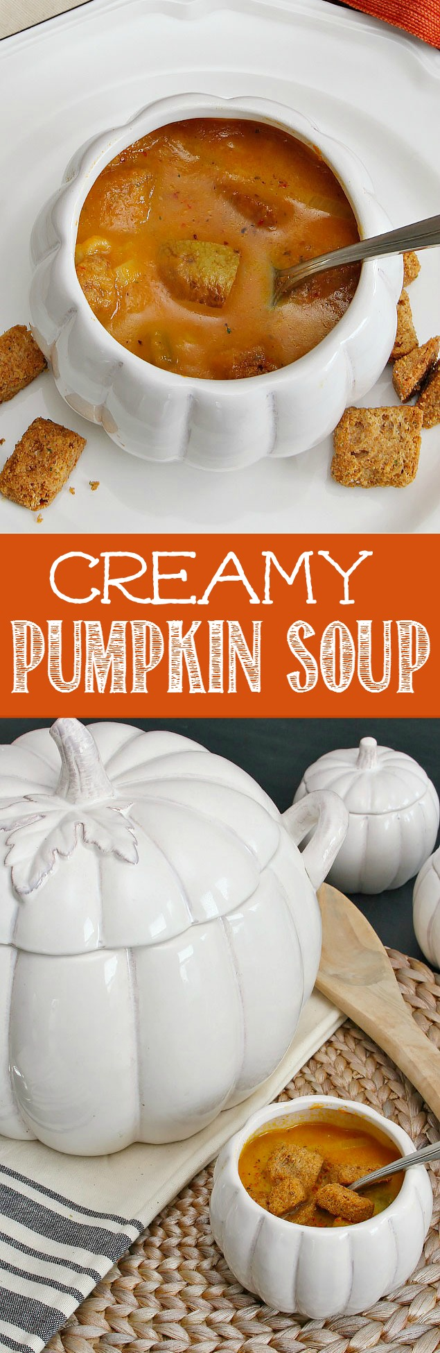 Creamy pumpkin soup recipe. This is so delicious, low in calories, and hearty enough for a meal!