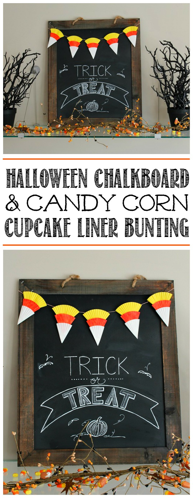 Halloween chalkboard and candy corn bunting.  This is so cute - great Halloween kids craft idea!