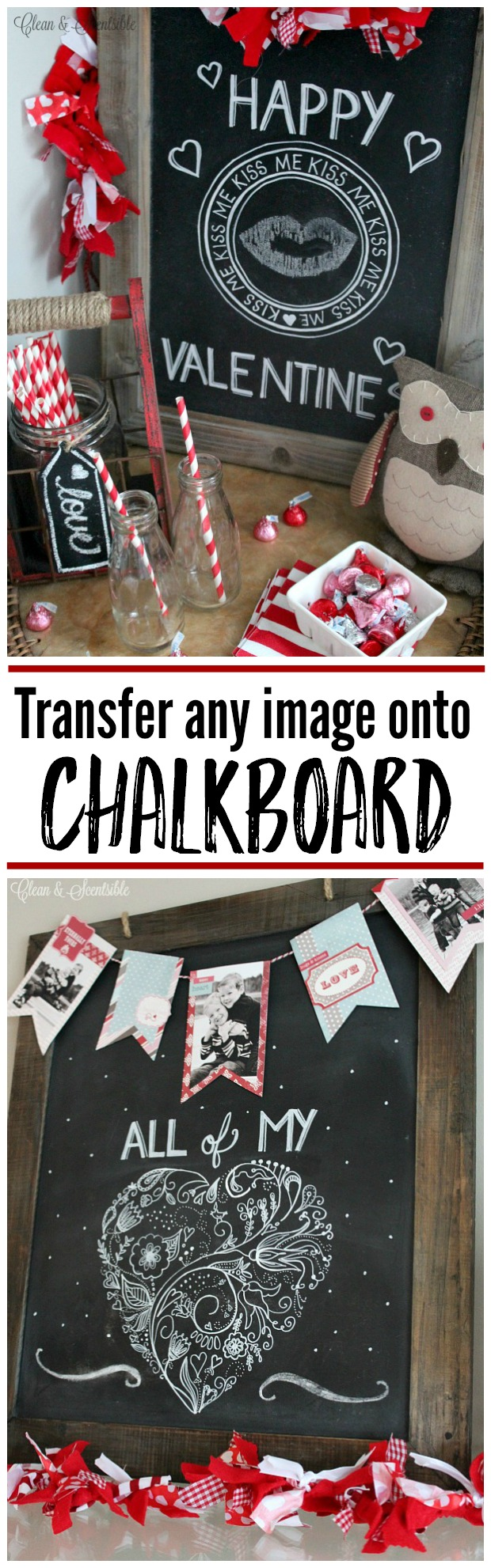 Use this simple technique to transfer any image onto chalkboard. No skills needed!