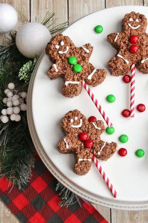 Chocolate Rice Krispie Gingerbread Men Pops