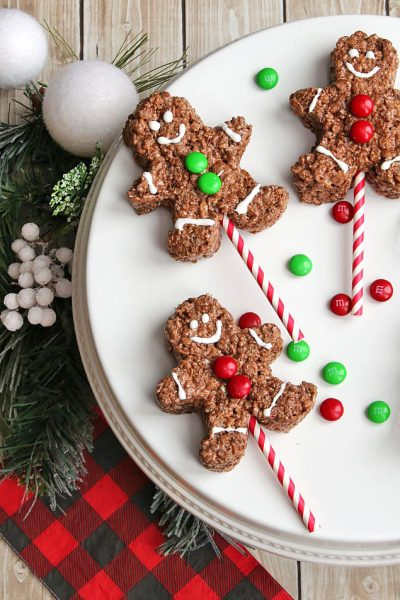 Chocolate Rice Krispie Gingerbread Men Pops