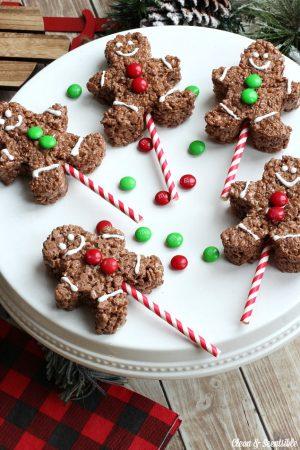 Chocolate Rice Krispie Gingerbread Men Pops - Clean and ...