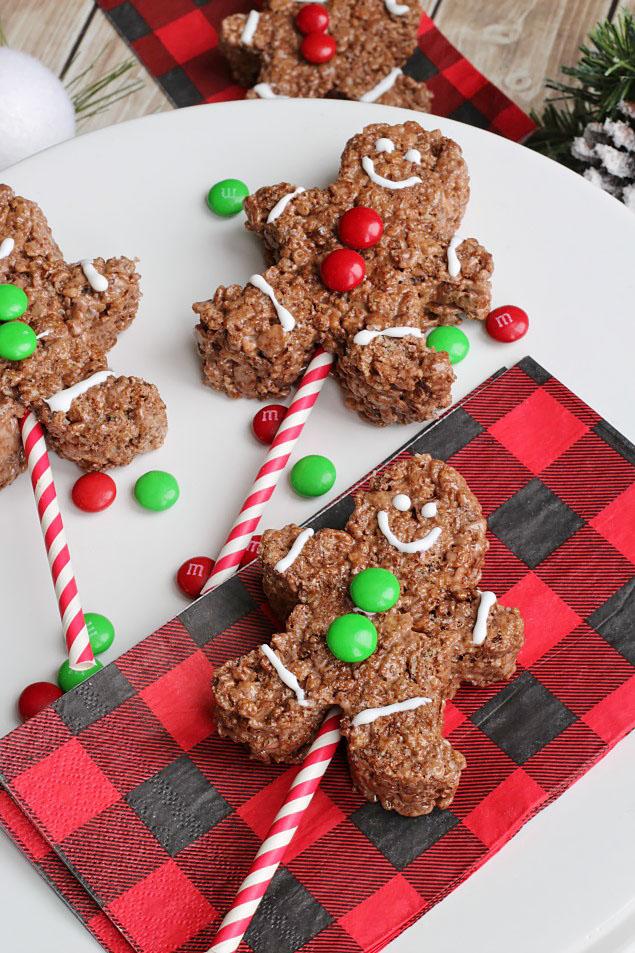 Gingerbread men chocolate Rice Krispie treats.