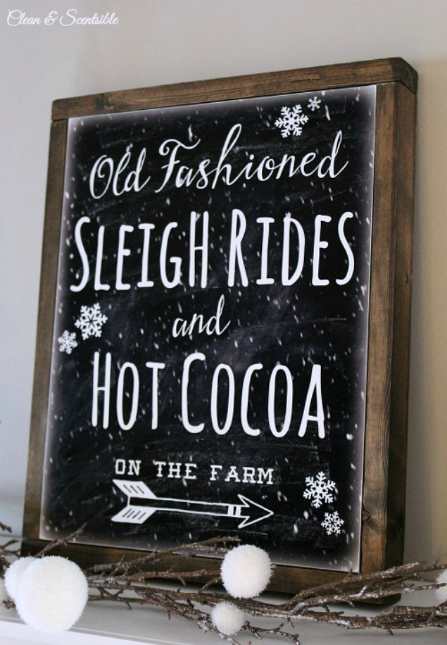 Learn how to easily create a DIY rustic canvas frame with this simple tutorial. This Sleigh Rides printable is perfect for your holiday or winter decor and would great at a hot chocolate bar!