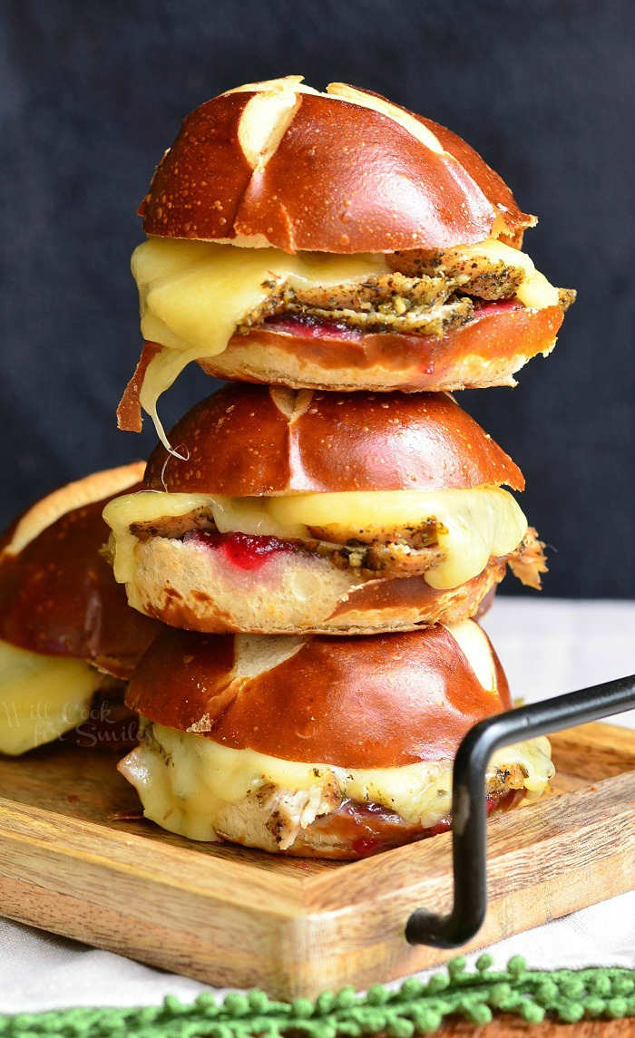 Stack of cranberry asiago turkey sliders.