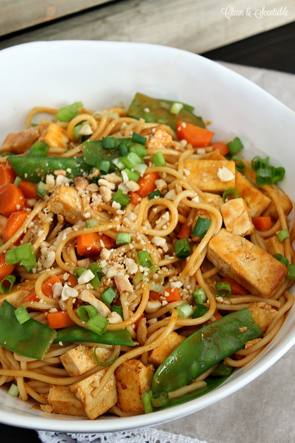 Thai curry and peanut noodles with tofu.