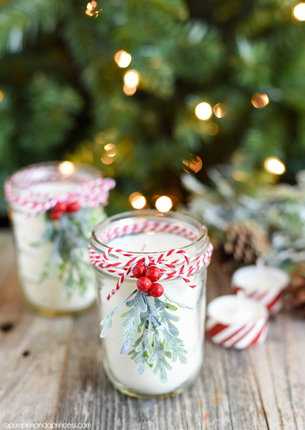 simple mason jar christmas decorations quick easy and inexpensive - Christmas Candle Decorations