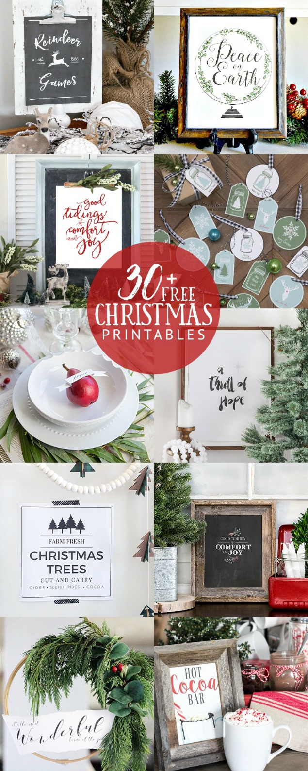 Gorgeous collection of free Christmas printables - there's something for every room!  Such an easy way to add some Christmas decor to your home.