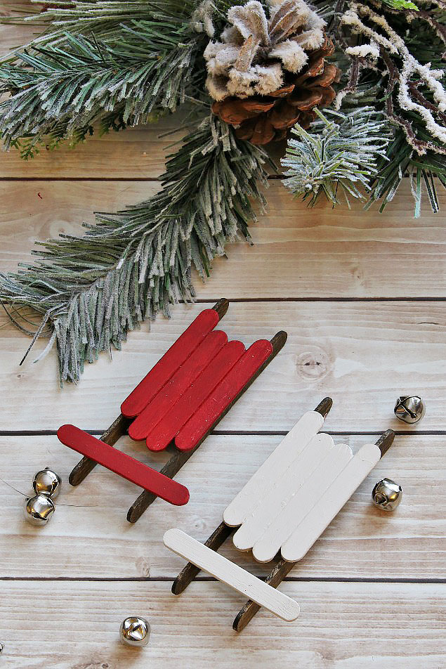Lollipop Stick Christmas Decorations.Handmade Christmas Ornaments Popsicle Stick Sleds Clean