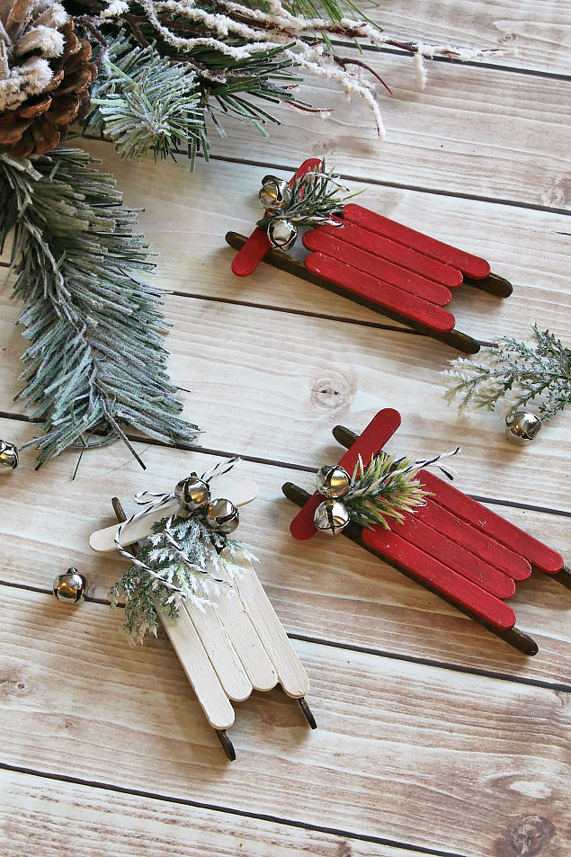 handmade christmas ornaments popsicle stick sleds clean and