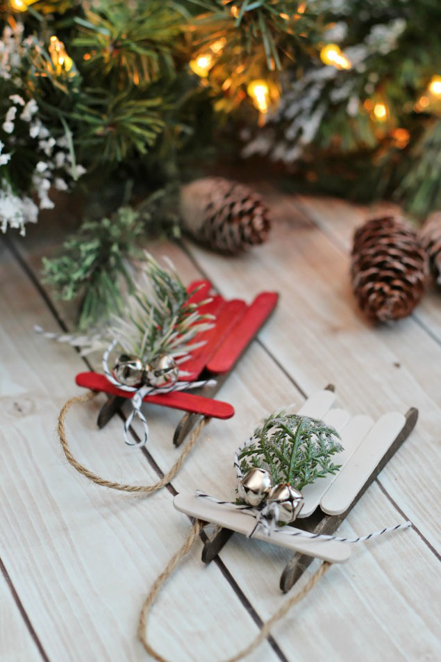 Popsicle Stick Sleds These Easy Handmade Christmas Ornaments Can Be Dressed Up Or Done As