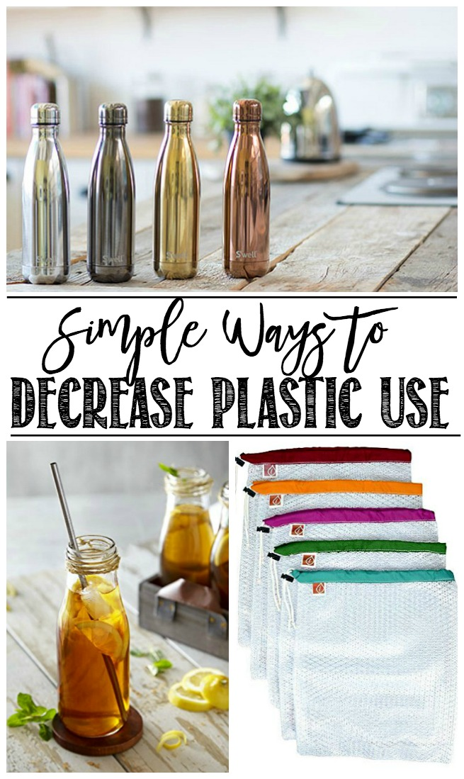 Environmentally friendly alternatives to plastic use - metal water bottles, metal straws, reuseable mesh grocery bags.