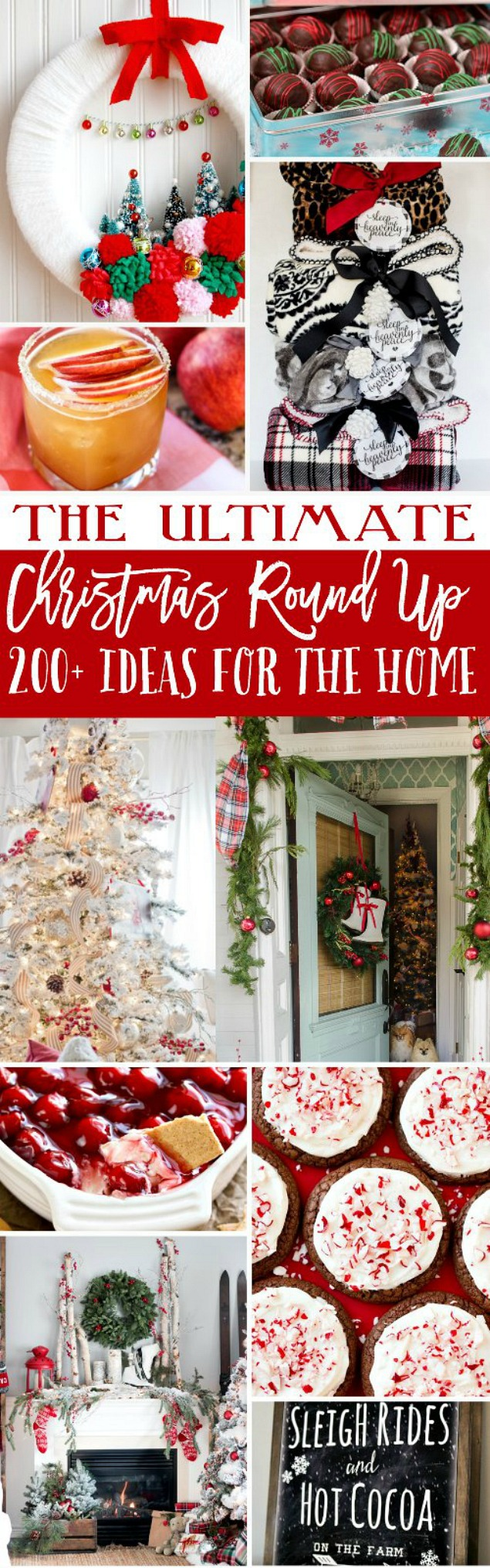 The ULTIMATE Christmas Idea Roundup.Everything you need to decorate your home and entertain for the holidays! Great round up of Christmas ideas!