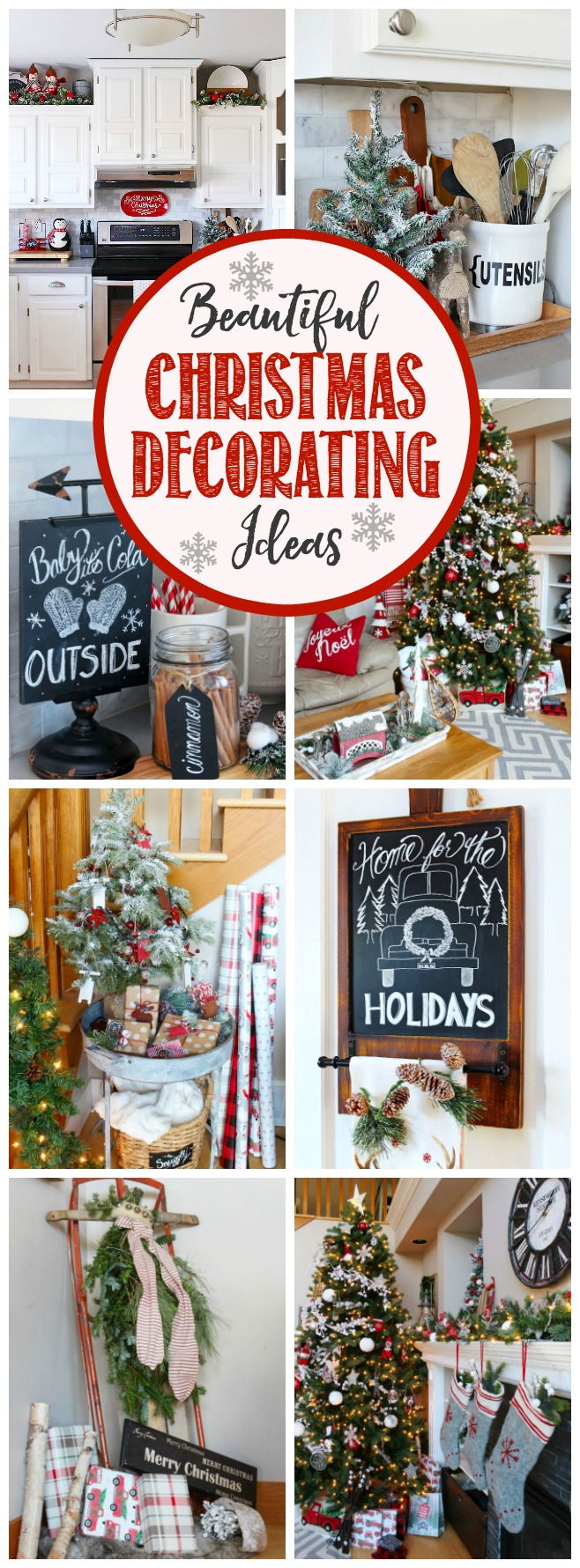 Fun and festive Christmas home tour. Lots of red and white with a cozy, Christmas cabin feel.