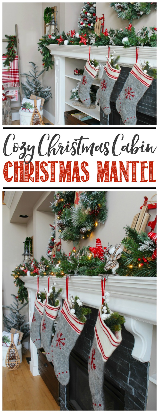 Cozy Christmas cabin Christmas mantel - snowy covered branches with red and white.