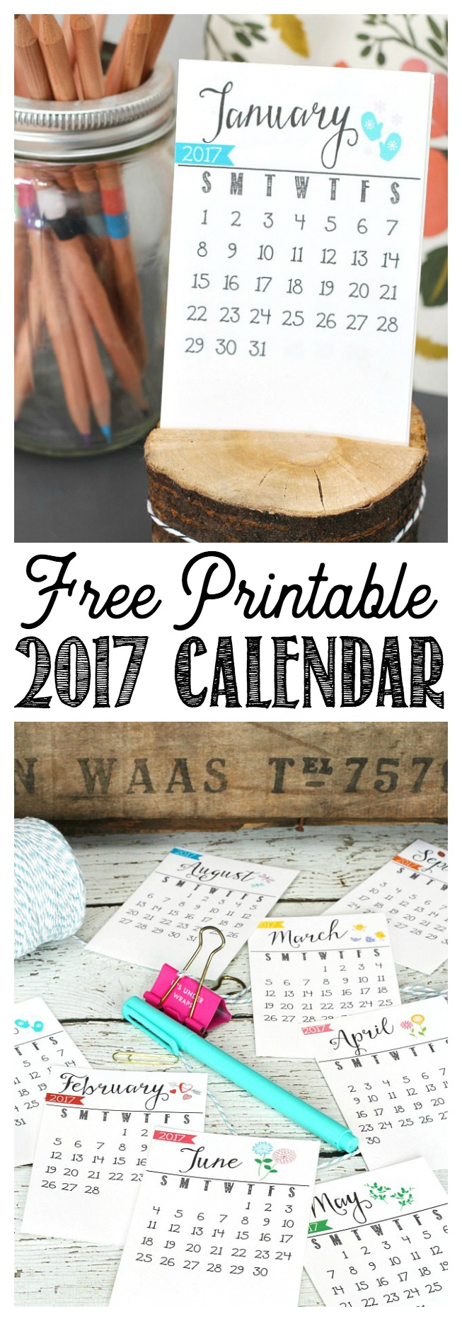 Free printable 2017 calendar. Perfect for your desk or office. Makes a cute gift idea too!