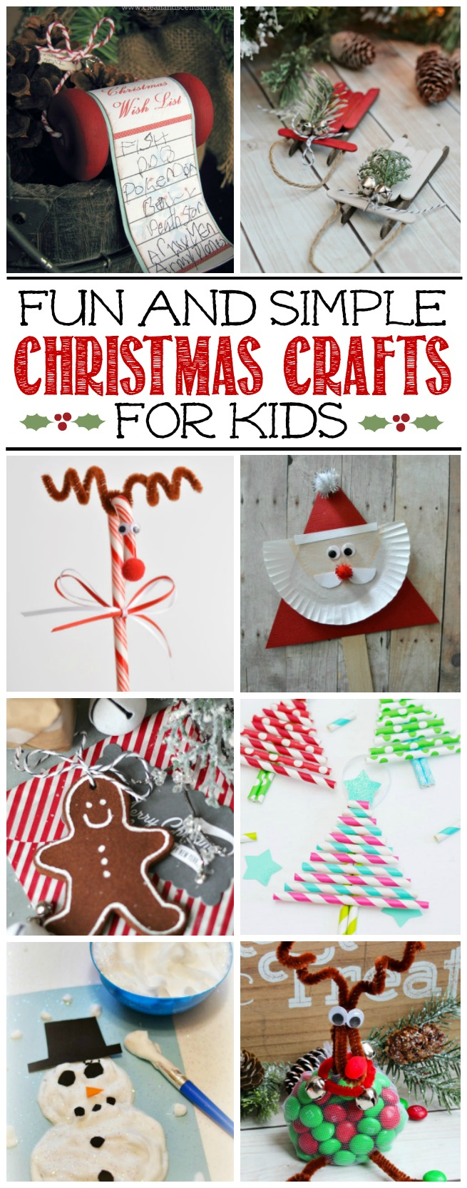 Cute collection of fun Christmas crafts for kids. Take some down time and have a fun afternoon with your kiddos!