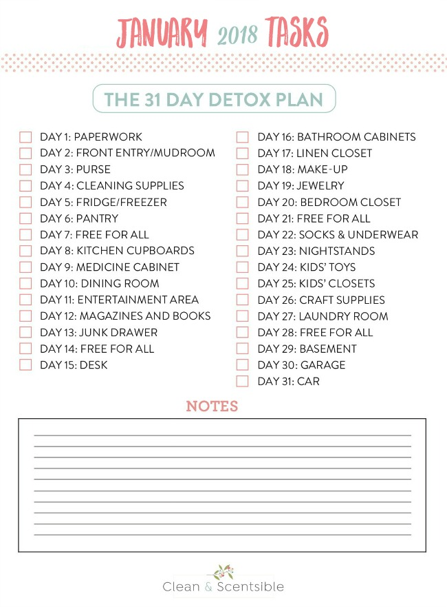 The January Decluttering Challenge from The Household Organization Diet. Get a jumpstart on your decluttering with this 31 day plan. Make this year the year you finally get organized!