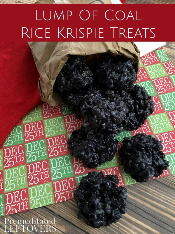 Lump of coal Rice Krispie treats.Quick, cute and easy Christmas Rice Krispie treats! Fun for class treats, Christmas parties or fun dessert ideas!
