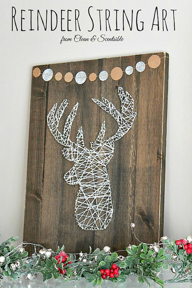 Rustic DIY reindeer string art tutorial. Great for Christmas decor but could be used year round!