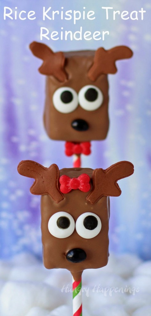 Rice Krispie Treat Reindeer.Quick, cute and easy Christmas Rice Krispie treats! Fun for class treats, Christmas parties or fun dessert ideas!