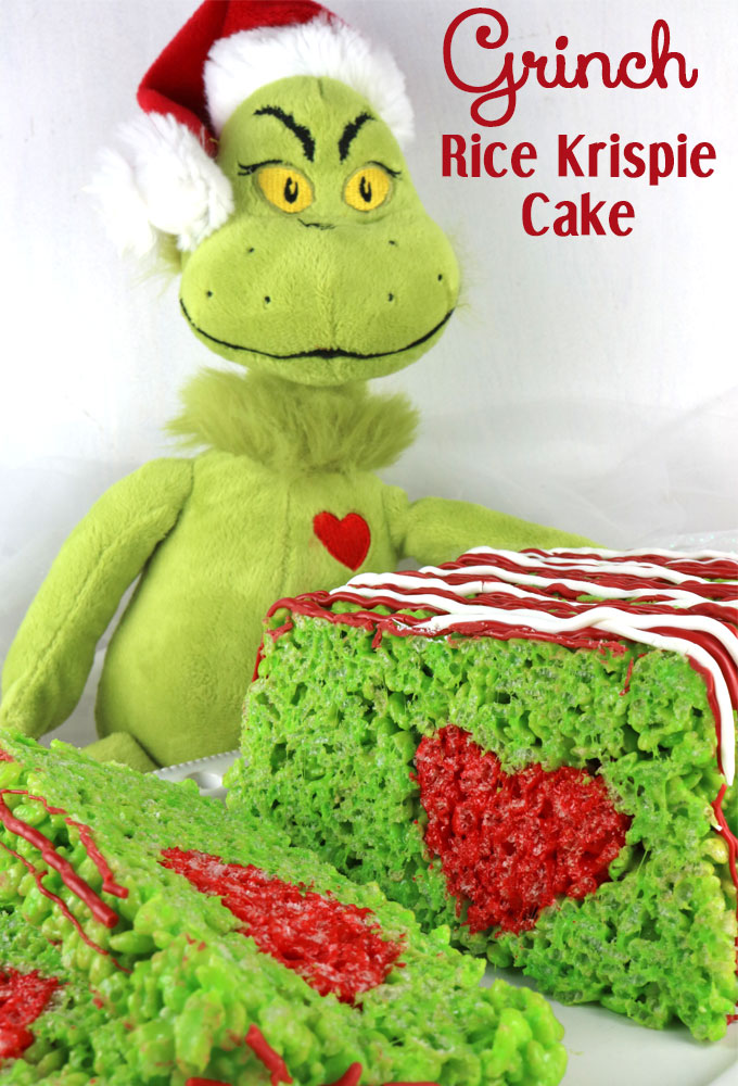 Grinch Rice Krispie Cake.Quick, cute and easy Christmas Rice Krispie treats! Fun for class treats, Christmas parties or fun dessert ideas!