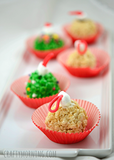 Rice Krispie Christmas Ornaments.Quick, cute and easy Christmas Rice Krispie treats! Fun for class treats, Christmas parties or fun dessert ideas!