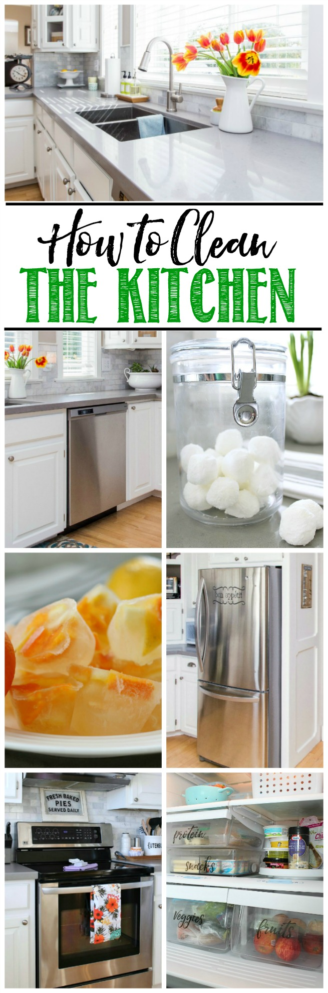EVERYTHING you need to clean the kitchen and develop a plan to keep it that way. Tips, tutorials, and free printables included. Part of The Household Organization Diet.