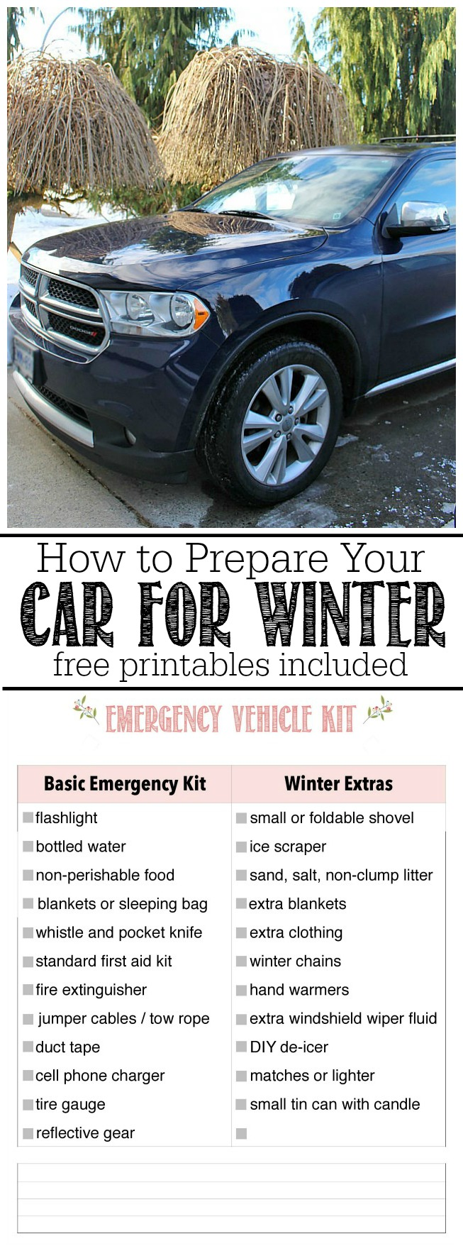 How to prepare an emergency kit for your care and prepare your car for winter driving. Stay safe! Free printables for family binder included.