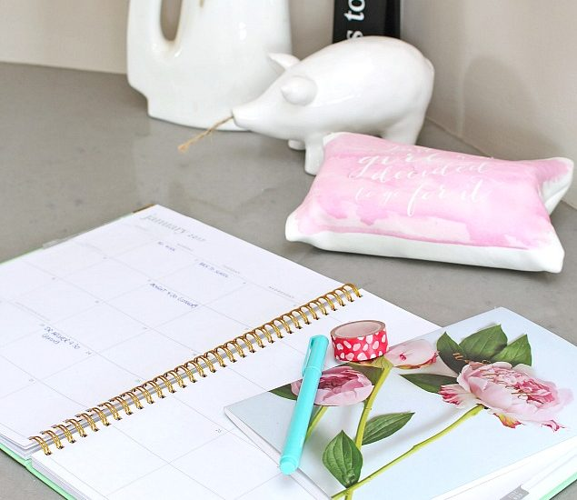 Home Office Organization. Organized desk with planner.