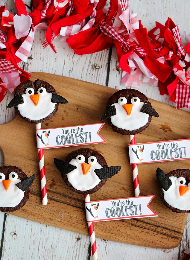 Adorable penguin Valentine's Day treats made with two-bite brownies.