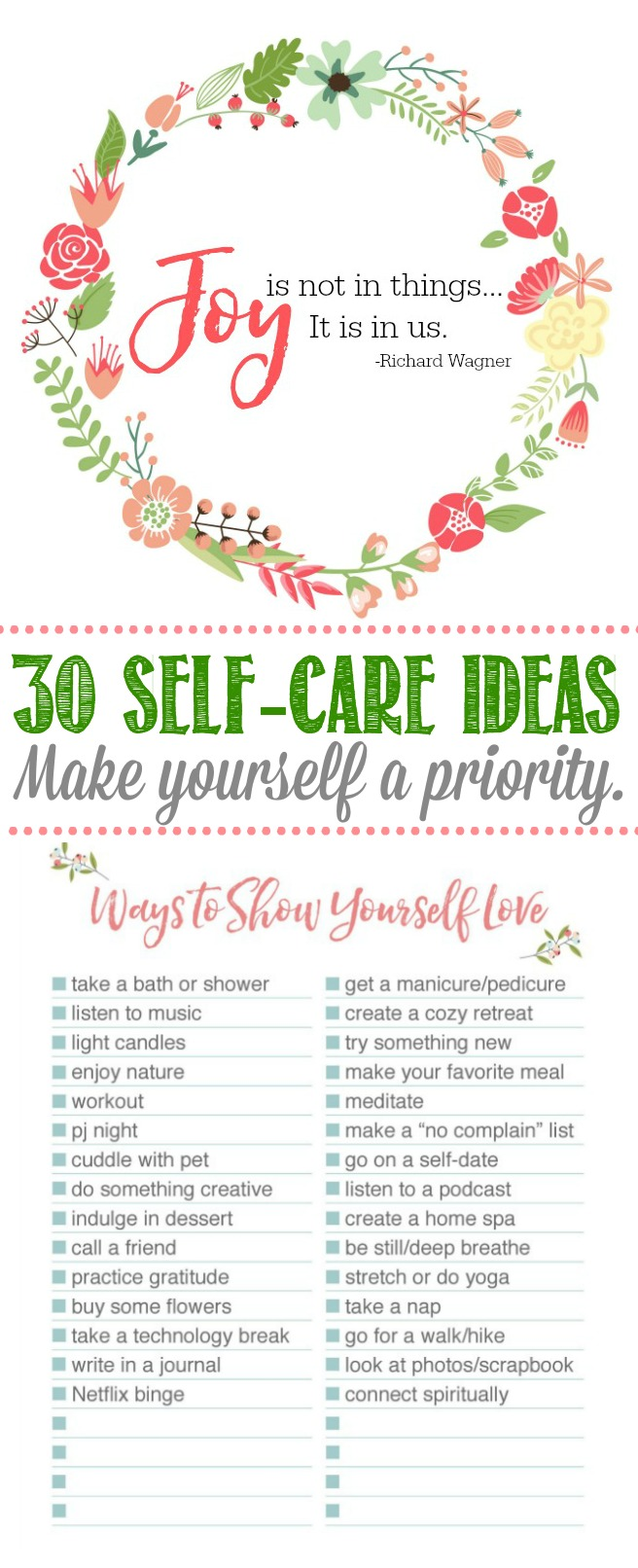 Self-care Ideas.  Free printable list of 30 self-care ideas and how to get started on practicing self-care.