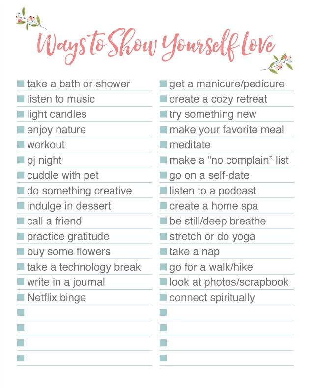 Free printable listing 30 self-care ideas.