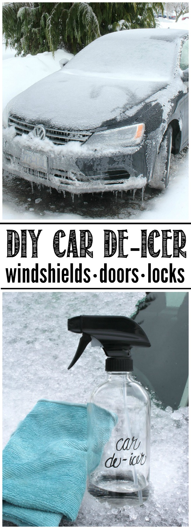 DIY Car De-Icer. This simple trick works in no time to remove ice from windshields, doors, and locks.
