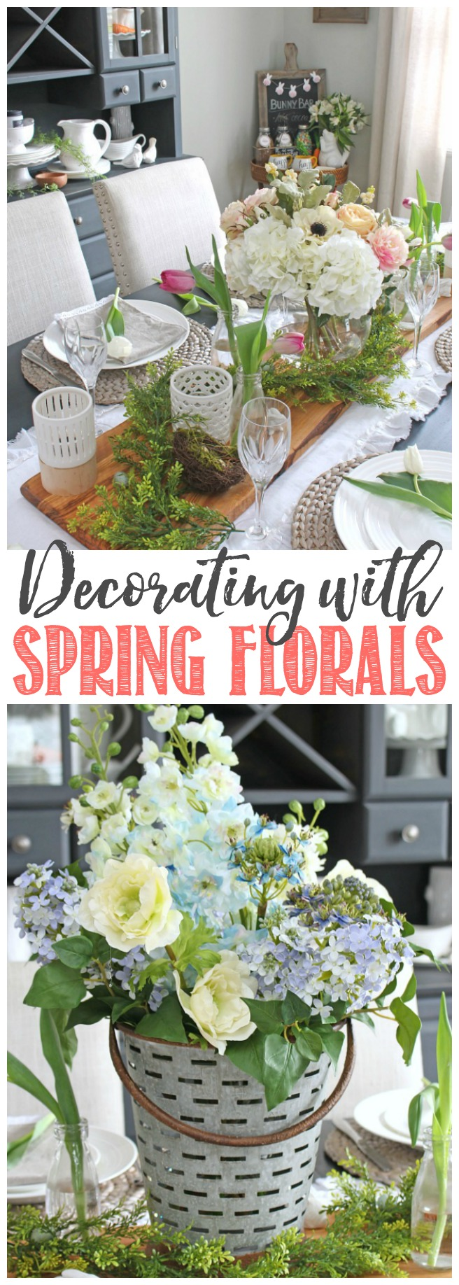Beautiful spring decorating ideas using flowers.  Fresh, faux, and fabulous!