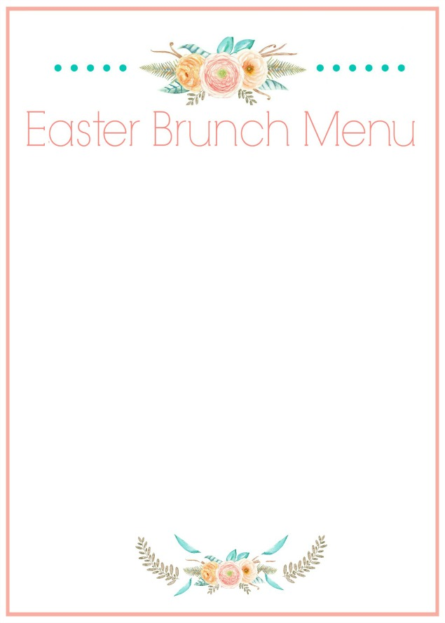 Free printable Easter brunch or Easter dinner menu card. Add you own text in a photo editing program or write in your own menu. Can be placed in a frame or printed smaller for individual place settings.
