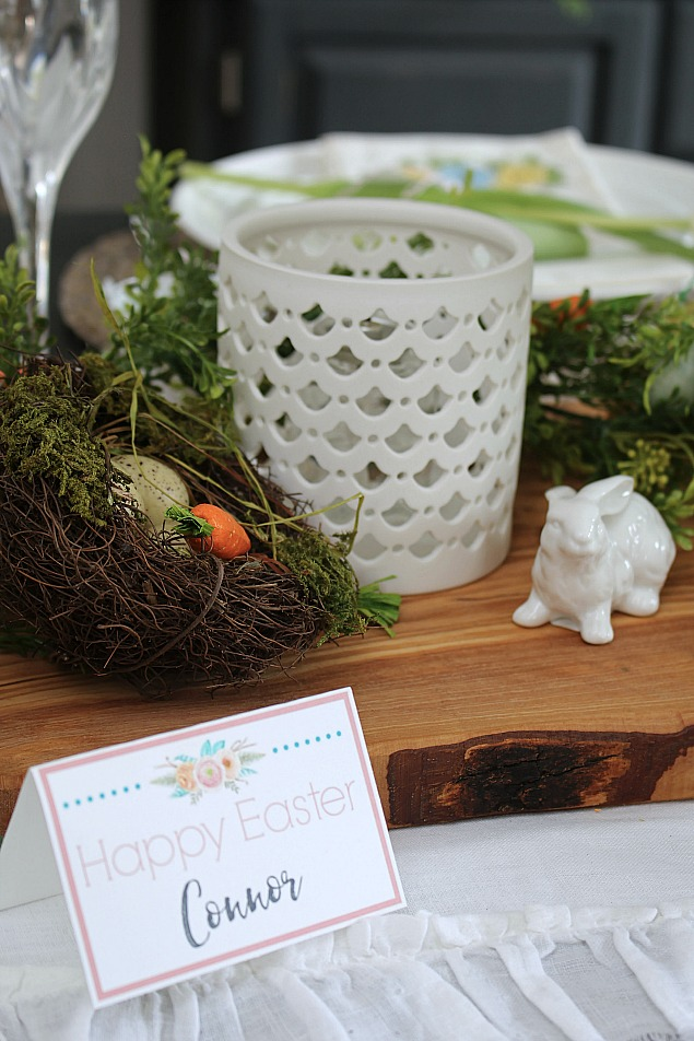 Spring home tour with Easter tablescape ideas. Free printables to help you dress up your Easter table.