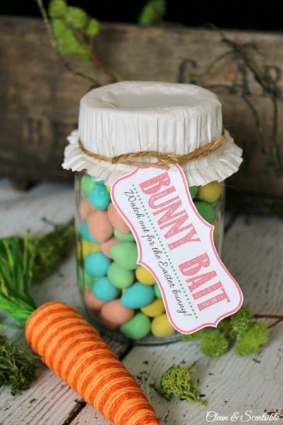 Bunny Bait free printable Easter tag tied onto a mason jar filled with mini-eggs.