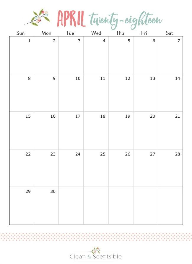April 2018 calendar.