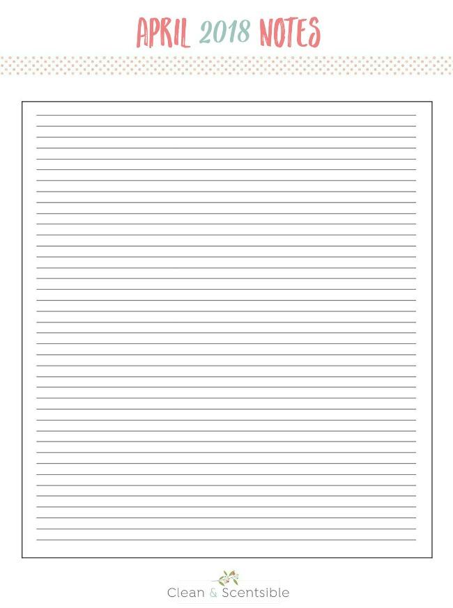 Blank notes sheet.