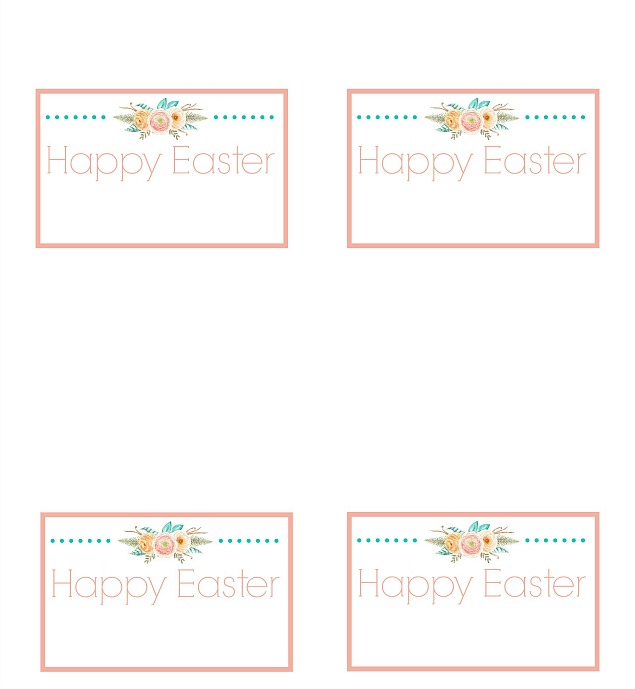 Free printable Easter place cards. Add you own text in a photo editing program or write in the names by hand.