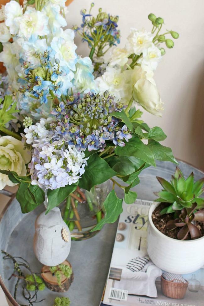 Faux flower arrangement.