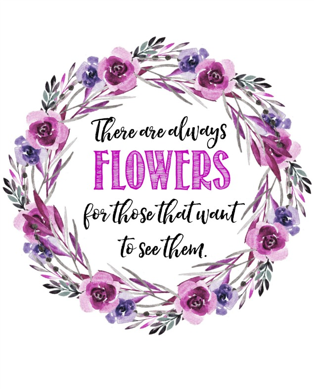 Beautiful collection of free spring printables. I love this quote and spring watercolor printable.