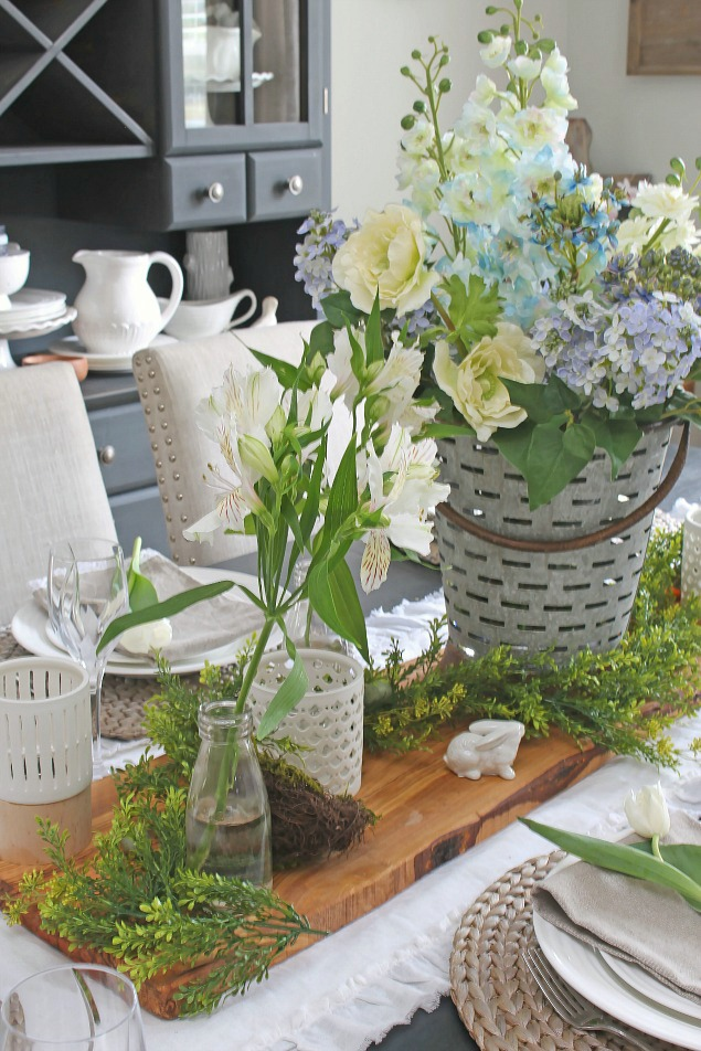 Beautiful spring centerpiece and decorating ideas using faux flowers.